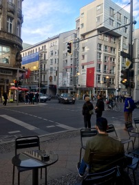 Sat in a Starbucks a few moments away from Checkpoint Charlie